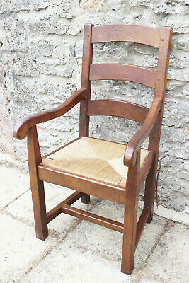 £30 • Buy Majestic French Antix Solid Oak Farmhouse Ladder Back Rush Seat Carver Chair