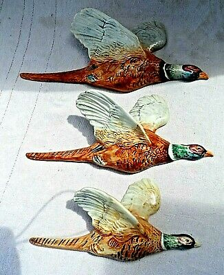 £165 • Buy Set Of 3 Vintage Beswick Flying Pheasant 661 1/2/3 Wall Plaque Perfect Condition