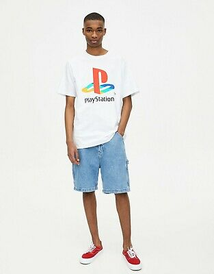 £3.74 • Buy Pull And Bear & Men's White PlayStation Logo T-Shirt Size L Large Official