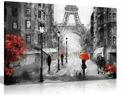 £22 • Buy Black White Red Oil Painting Paris Eiffel Tower Canvas 20x30 Inches Wall Art