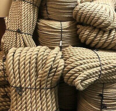 £8.64 • Buy 40mm Natural Jute Hessian Rope Cord Braided Twisted Boating Sash Garden Decking