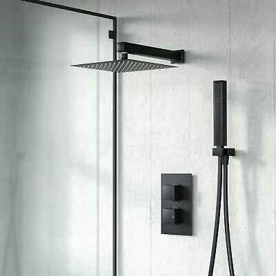 £129.95 • Buy Black Thermostatic Shower Mixer Square Bathroom Concealed Twin Head Valve Set