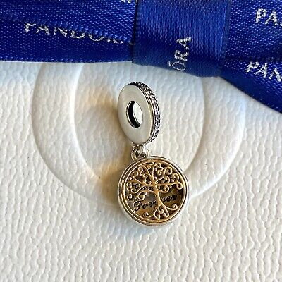 AU135 • Buy Authentic Pandora Silver 14k Gold Dangle Family Forever Tree Charm #791988CZ