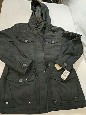 $31.19 • Buy Levi's Hooded Insulated Jacket Cargo Pockets Black Size Large - New W/ Defects