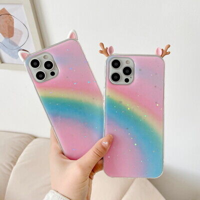 £2.52 • Buy DIY Deer Ears Glitter Rainbow Soft Case Cover For IPhone 12 Pro Max 11 XS XR 8 7