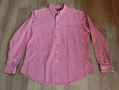 £18.99 • Buy POLO BY RALPH LAUREN Mens Red White Gingham Custom Fit Long Sleeve Shirt X Large