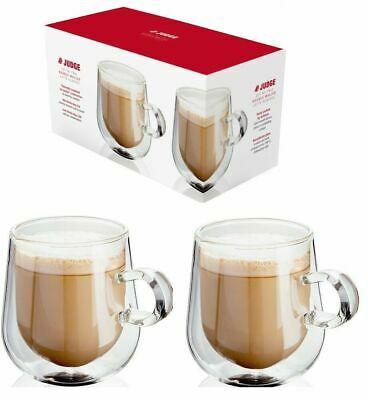 £15.99 • Buy Judge Set Of 2 Double Walled Insulated Hollow Wall Latte Coffee Glass Mug 275ml