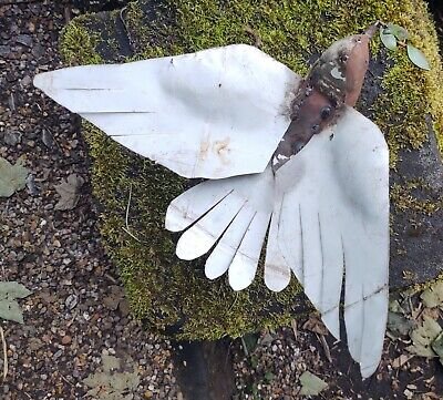 £30 • Buy White Dove & Olive Branch Garden Sculpture Ornament Recycled Upcycled