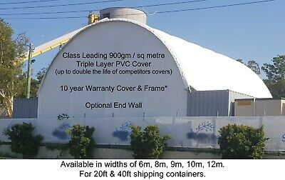 AU7195 • Buy 20ft & 40ft Shipping Container Dome Shelter 900gm/m2 PVC Cover/Galv Metal Frame