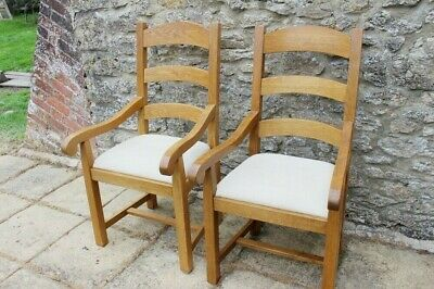 £103 • Buy 2 Impressive French Bergerac Solid Oak Farmhouse Ladder Back Carver Chairs