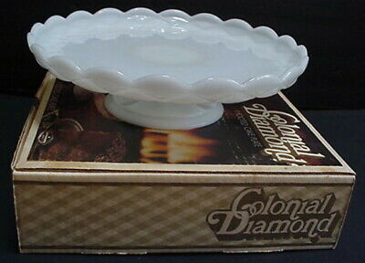 $47 • Buy Vintage ANCHOR HOCKING Colonial Diamond Footed Cake Plate Milk Glass + Box W4301