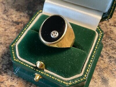$229.26 • Buy Large Mens Signet Ring 9 Ct Gold (u1/2) With Onyx And A Small Diamond.4.16g.
