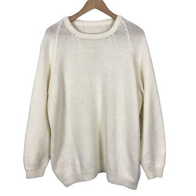 £12.99 • Buy Women's Ivory Size 14-16 Long Sleeve Slouchy Round Neck Knit Jumper Sweater