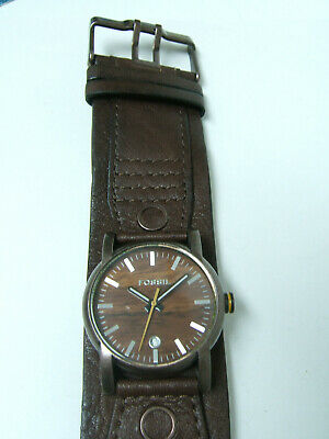 $34.99 • Buy Fossil Brown Watch Brown Leather Cuff Band Photo Sample For Parts & Repair Only