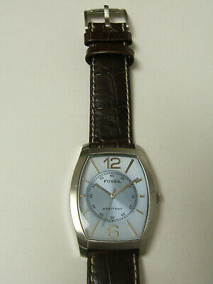 $29.99 • Buy Fossil Silver Blue Dial Watch Brown Leather Band Photo Sample Parts/repair Only