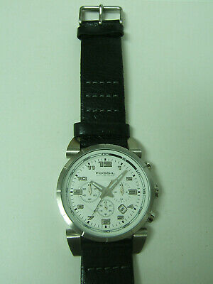 $29.99 • Buy Fossil Silver Chrono Watch Black Leather Band Photo Sample Parts/repair Only