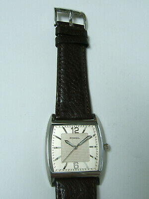 $29.99 • Buy Fossil Silver Watch Brown Leather Band Photo Sample For Parts & Repair Only