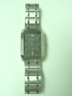 $29.99 • Buy Fossil Silver Grey Dial Rectangle Watch Photo Sample For Parts & Repair Only