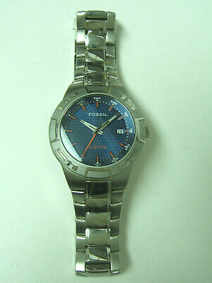 $39.99 • Buy Fossil Silver Blue Dial Watch Photo Sample For Parts & Repair Only Sold As Is
