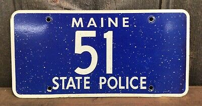 $145 • Buy Vintage Blue Maine State Police Auto License Plate #51 Retired