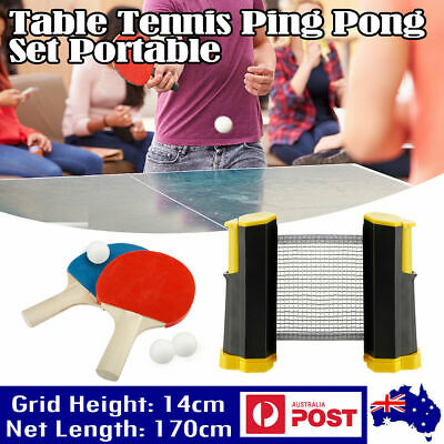 AU13.99 • Buy Anywhere Retractable Ping Pong Table Tennis Net & Post Set. W/ 2 Paddles&3 Balls