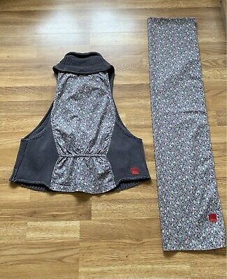 £5 • Buy Miss Captain Tortue…Size T2…UK 10/12…waistcoat & Matching Scarf…100% Cotton…grey
