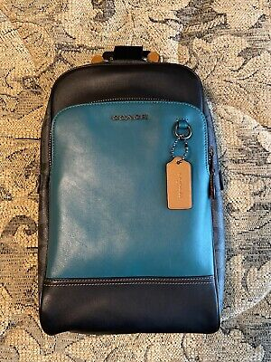 $175 • Buy Coach 89936 Graham Leather Sling Pack Black & Green - Pristine Condition