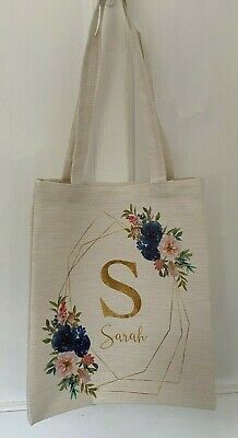 £5.95 • Buy Personalised Blue Floral Geo Letter/name Canvas Tote Bag Bridesmaid/teacher Gift