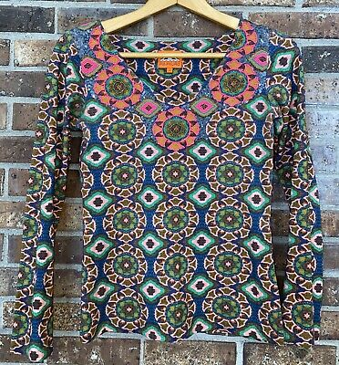 $ CDN27.37 • Buy Pia Pauro Anthropologie Tiled Bead Sequin Detail Top V Neck Multi Color Small S