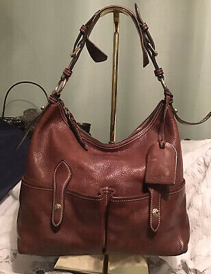 $118 • Buy Dooney Bourke Florentine Leather LUCY Hobo Slouch Bag Natural Brown + Coin Purse
