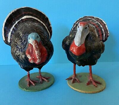 $149.99 • Buy Two Composition Thanksgiving Turkey Candy Container & Figure Germany Paper Mache
