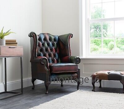 £669 • Buy Brompton Antiqued Patchwork Leather Wing Chair Armchair High Back Chesterfield