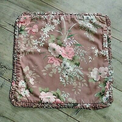 £8 • Buy Vintage Mid Century Oriental Cushion Cover Pink Floral Frill Edged 17 X 17 Inch