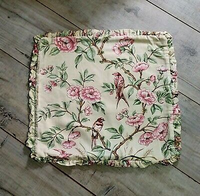 £8 • Buy Vintage Mid Century Frill Cushion Cover Oriental Peony Chinoiserie 16  X 15 Inch