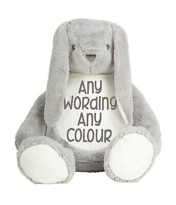 £22 • Buy Mumbles Zippie Large Grey Bunny Personalised & Embroidered Soft Cuddly Toy