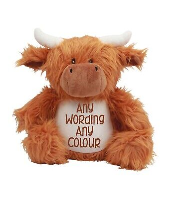 £22 • Buy Mumbles Zippie Highland Cow Personalised & Embroidered Soft Cuddly Toy Teddy
