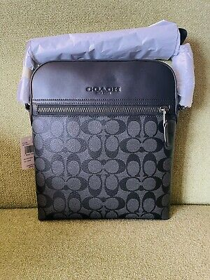 $165 • Buy NWT Coach Houston Flight Bag In Signature Canvas & Leather Charcoal Black