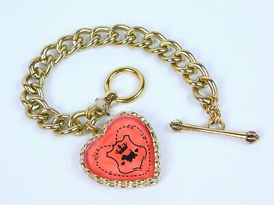 £14.54 • Buy Juicy Couture Charm Bracelet Large Faceted Scottie Accented Heart Charm Goldtone