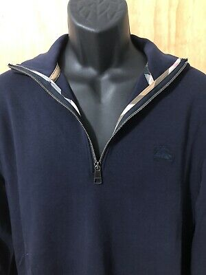 $89.95 • Buy Burberry Brit Sweater Mens Large - 1/4 Zip Pullover - Navy Blue