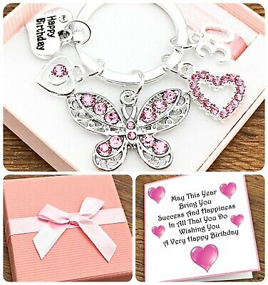 £5.25 • Buy 16th 18th 21st Birthday Gift. Pink. Butterfly. Keyring. 30th. 40th. Gift Box