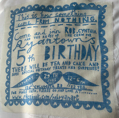 £4.99 • Buy Rob Ryan Muslin Screen Print Advert Picture For Framing NEW 20cms Square