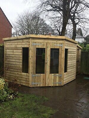 £2250 • Buy GARDEN SHED CORNER SUMMER HOUSE TANALISED ULTIMATE HEAVY DUTY 9x9 22MM T&G. 3X2