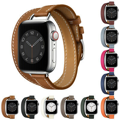 AU21.74 • Buy Slim Double Tour Leather Band Strap For Apple Watch Series 6 5 4 IWatch 40/44mm