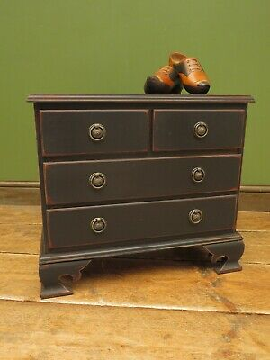 £125 • Buy Small Antique Style Black Painted Chest Of Drawers, Crafting Bedside Collectors