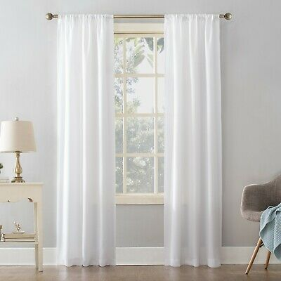 $14 • Buy Mainstays Textured Solid Curtain Single Panel  White 38 X 95