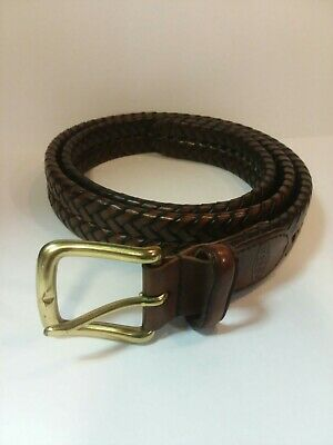 $24.99 • Buy Fossil Mens 50% Genuine Leather 50% Bonded Double Braided Brown Belt 40 100