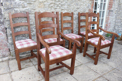 £50 • Buy 6 Fine French Solid Oak Ladder Back Rush Seat Farmhouse Chairs W 2 Carvers
