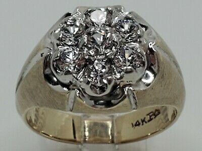 $999.99 • Buy Mens 14k Solid Yellow Gold 1.20tcw Natural Diamond Kentucky Cluster Ring Size 10