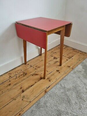 £95 • Buy Small Red Formica Table Mid Century Drop Leaf Retro Style DELIVERY
