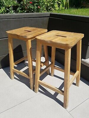 £59 • Buy 1x 19th Century Science Lab School Vintage Shabby Chic 1940s Wooden Stools